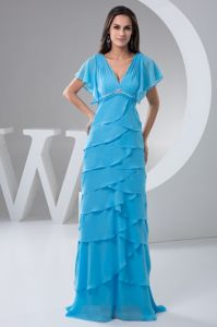 Superb V-neck Beading Aqua Blue Layered Mother of The Bride Outfits