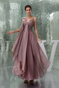 Straps Ruched Layers Burgundy Chiffon Long Dresses for Bride Mother