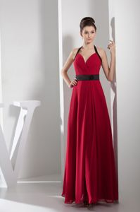 Backless Halter Sash Red Mother Bride Dress in Diamond Bar California