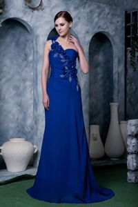 Flowers One Shoulder Brush Train Royal Blue Mother of The Bride Dress