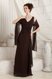 Dadeville Alabama V-neck Brown Chiffon Zipper-up Back Mother Gowns