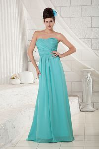 Turquoise Sweetheart Ruching Long Florida Chic Mother of Bride Dress
