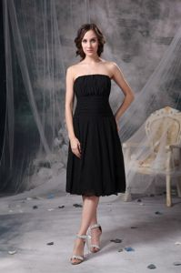 Colorado Black Strapless Ruched Tea-length Mother Dress for Wedding