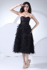 Tea-length Sweetheart Ruffled Black Zipper-up Back Mother Party Dress