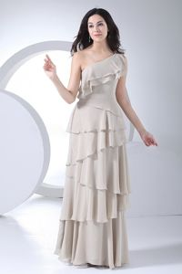 One Shoulder Ruffled Layer Grey Chiffon Long Mother Dress for Wedding