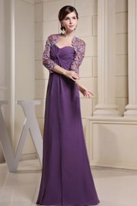 Cheap Sweetheart Ruche Eureka California Purple Dress for Bride Mother