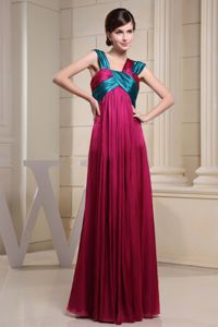 Colorful Asymmetrical Neck Ruched Zipper-up Back Mother Bride Gowns
