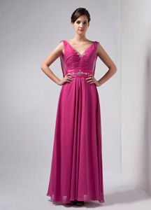V-neck Beading Ruche Sash Hot Pink Chiffon Mother of The Bride Dress