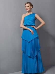 Layers One Shoulder Pleated Beading Blue Long Mother Party Dresses