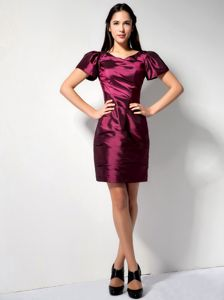 Short Sleeves V-neck Burgundy Mother Dresses Sale in Navarre California