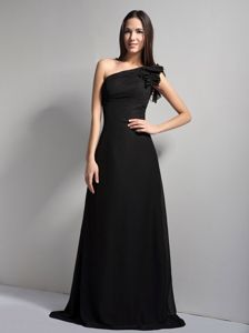One Shoulder Brush Train Black Zipper Up Kenai Alaska Mother Dresses
