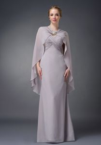 V-neck Ruched Cloak Floor-length Grey Chiffon Dresses for Bride Mother