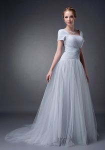 Tulle Square Applique Ruched Neck Brush Train Mother Bride Dresses