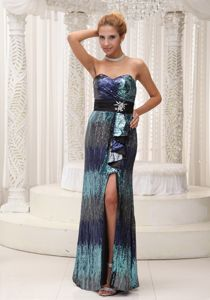 Paillette Sweetheart Beaded Sash High Slit Colorful Mother Party Dress