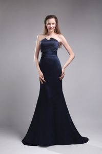 Brush Train Strapless Wide Sash Beading Navy Blue Mother Party Dress