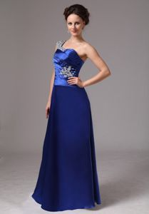 One Shoulder Beading Royal Blue Satin Mother of The Groom Dresses