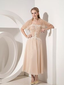 Ruched Strapless Appliques Champagne Tea-length Mother Party Dress