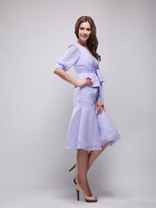 Sash V-neck Short Sleeves Lavender Chiffon Mother of Bride Dresses