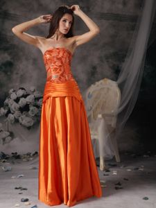 Strapless Sequin Orange Red Taffeta Greers Ferry Arkansas Mother Dress