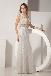 Ruffled One Shoulder Lace Beading White Mother of The Bride Outfits