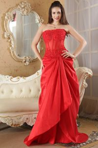Brush Train Lace Strapless Red Mother Party Dresses in Eustis Florida