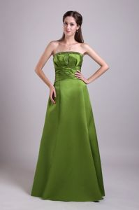 Olive Green Strapless Beading Satin Delaware Mother Dress for Wedding