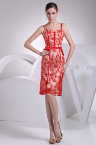 Knee-length Straps Floral Lace Buttons Red Zipper-up Mother Bride Dress