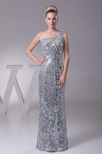 Sequin One Shoulder Sliver Aurora Colorado Mother of Bride Dresses