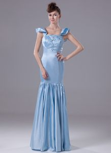 Cap Sleeves Bead Embroidery Mermaid Light Blue Dress for Bride Mother