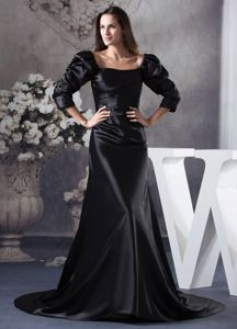 Square Bubble Sleeves Black Brush Train Mother of The Bride Dresses