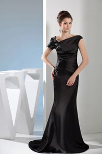 Black Asymmetrical Neck Appliques Mermaid Mother of Bride Dresses