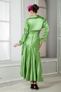 Sweetheart Ruche Appliques Spring Green Mother of The Groom Gowns