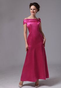 Off Shoulder Ankle-length Hot Pink Satin Zipper-up Back Mother Gowns