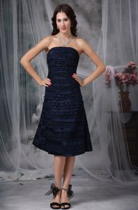 Dixon California Strapless Lace Layers Navy Blue Mother of Bride Dress