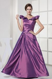 Ruffled V-neck Purple Taffeta Mother Dresses in Harvest Dothan Alabama