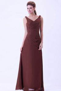 Chiffon V-neck Ruches Brown Mother Dress for Wedding in Mesa Arizona