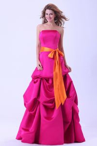 Sash Strapless Pick-ups Hot Pink Satin Pelham Alabama Mother Dresses