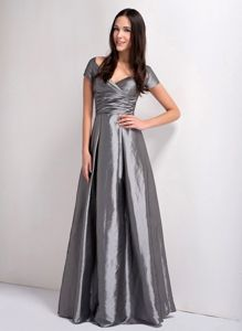 Sleeves V-neck Ruche Grey Taffeta Mother Bride Dress in Chico California