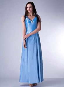 Kingman Arizona V-neck Beading Baby Blue Mother of The Bride Dresses