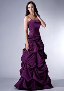 Pick Ups Straps Beading Dark Purple Satin Lace-up Back Mother Gowns
