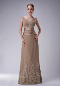 V-neck Applique Champagne Chiffon Delta Junction Alaska Mother Dress