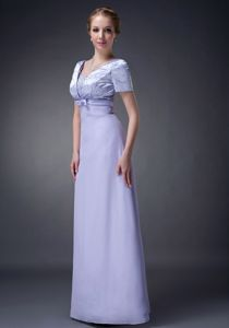 Bowknot V-neck Bead Sleeves Florence Alabama Dress for Bride Mother