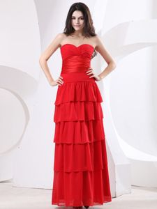 Red Sweetheart Ruched Layers Essex Connecticut Mother Bride Dresses