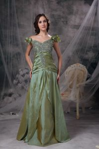 Off The Shoulder Beading Ruche Olive Green Mother of The Groom Dress