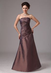 Simple Ruche Strapless Brown Prom Mother Dress in Darien Connecticut