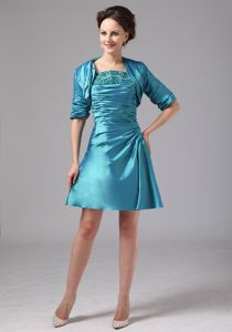 Teal Strapless Appliques Taffeta Mother Bride Dress for Flagstaff Arizona