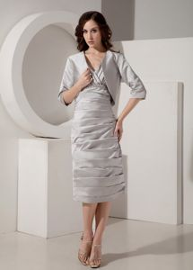 Taffeta V-Neck Beads Ruched Tea-length Gray Mother of The Bride Dress