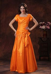 Square Neck Bowknot Orange Mother of Bride Dresses in Dover Delaware