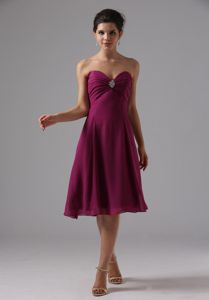 Burgundy Sweetheart Beading Chiffon Knee-length 2013 Mother Gowns