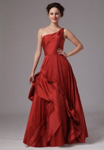 Wine Red Taffeta Mother Party Dress in Hope Arkansas with One Shoulder